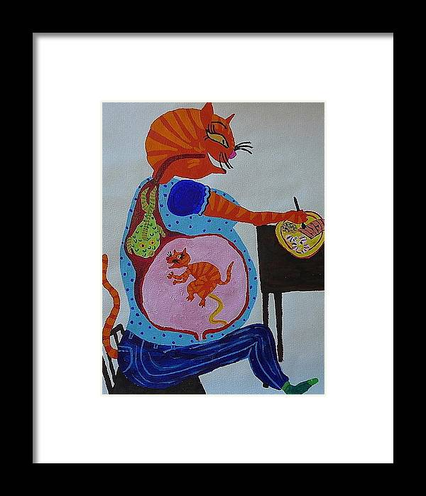 Cat Framed Print featuring the painting Eating For Two by Paks Cahill