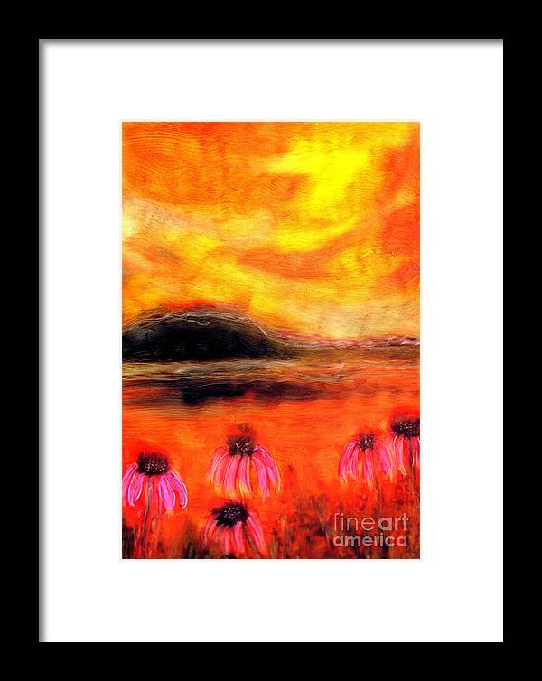 Flowers Framed Print featuring the painting Echinacea Sunset by FeatherStone Studio Julie A Miller