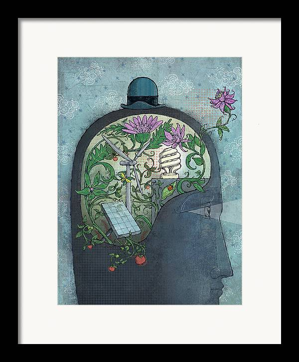 Flower Framed Print featuring the digital art Ecohead by Dennis Wunsch