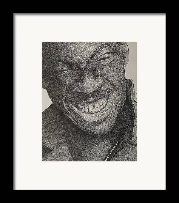 Portraiture Framed Print featuring the drawing Eddie by Denis Gloudeman