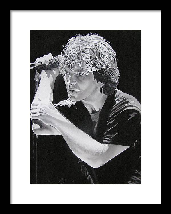 Eddie Vedder Framed Print featuring the drawing Eddie Vedder by Joshua Morton