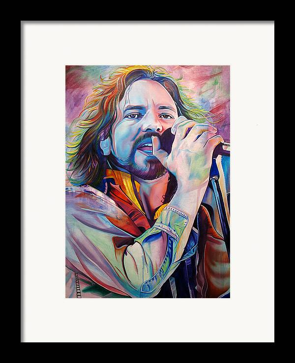 Eddie Vedder Framed Print featuring the painting Eddie Vedder In Pink And Blue by Joshua Morton