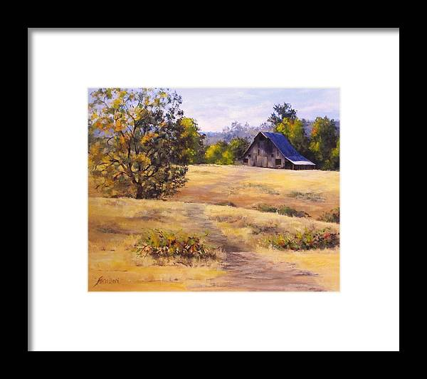 Landscape Framed Print featuring the painting Edge of Autumn by Karen Ilari