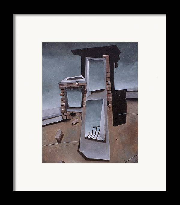 Landscape Framed Print featuring the painting Edificios No.4 by Michael Irrizary-Pagan