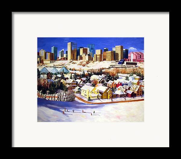 Urbanscape Framed Print featuring the painting Edmonton In Winter by Nel Kwiatkowska