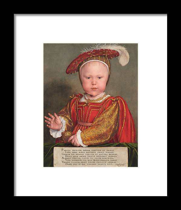 Hans Holbein The Younger Framed Print featuring the painting Edward Vi As A Child by Hans Holbein the Younger