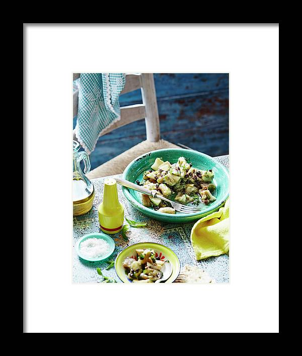 Temptation Framed Print featuring the photograph Eggplant, Mint And Sultana Salad by Brett Stevens