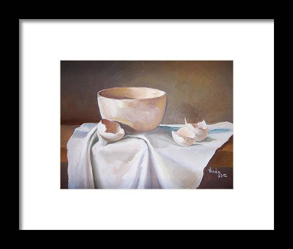 Eggshells Bowl Linnen Framed Print featuring the painting Eggshells by Vanda Bleavins