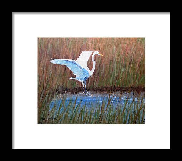 Egret Framed Print featuring the painting Egret Landing by Keith Wilkie