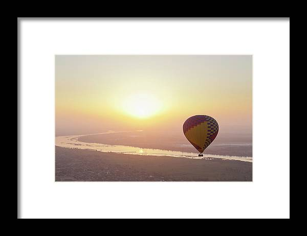 Luxor Framed Print featuring the photograph Egypt, View Of Hot Air Balloon Over by Westend61