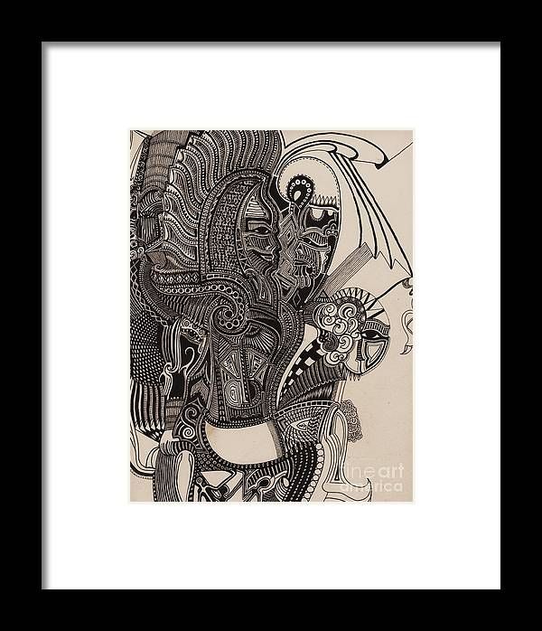 Pen Framed Print featuring the drawing Egypt Walking by Michael Kulick
