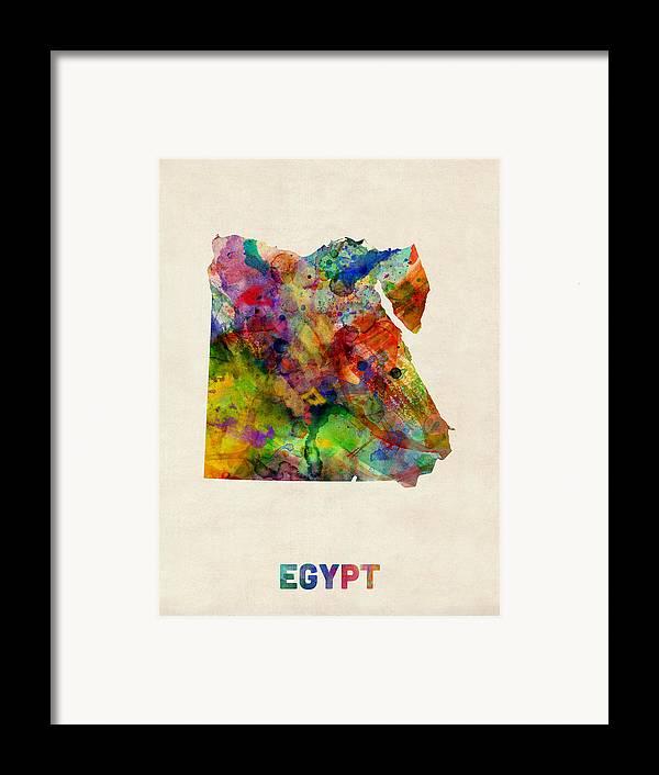 Map Art Framed Print featuring the digital art Egypt Watercolor Map by Michael Tompsett