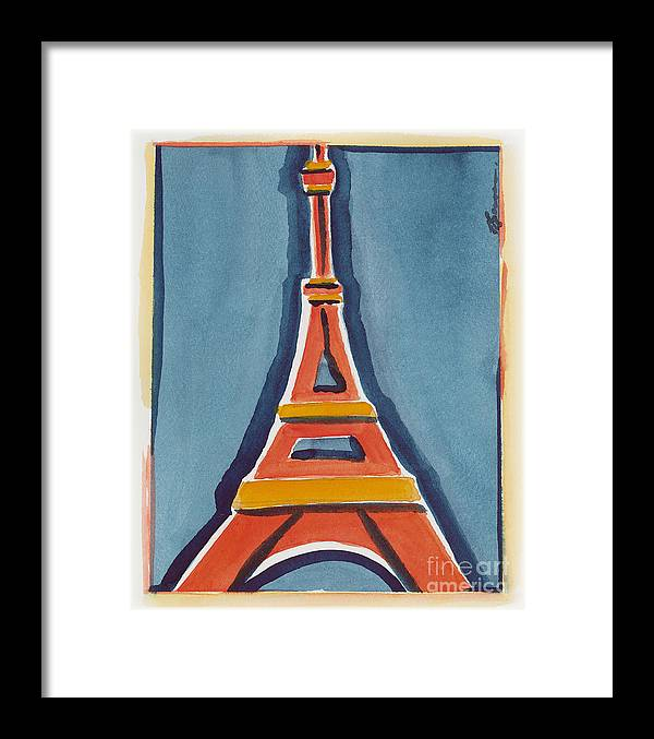 Effel Tower Framed Print featuring the painting Eiffel Tower Orange Blue by Robyn Saunders