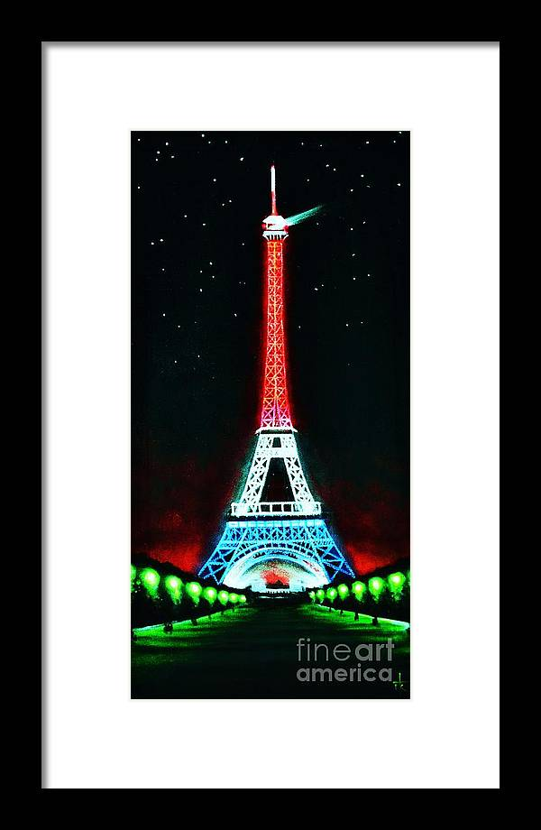 Eiffel Tower Framed Print featuring the painting Eiffel Tower by Thomas Kolendra