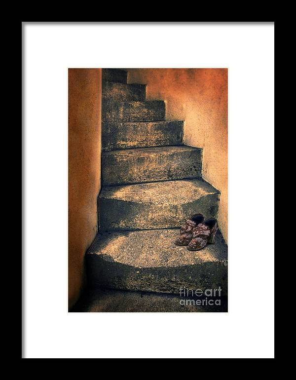 Stairs Framed Print featuring the photograph Eighteenth Century Shoes On Old Stairway by Jill Battaglia