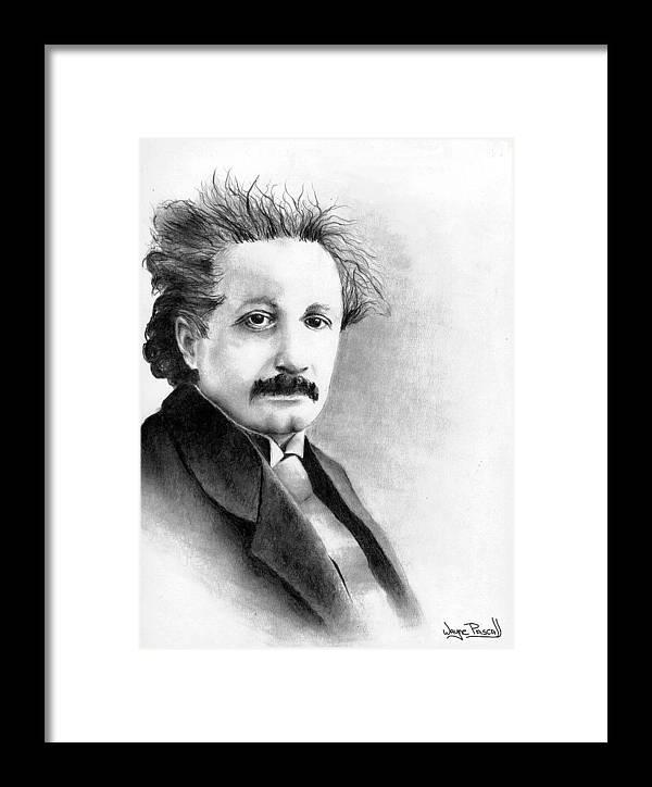Einstein Framed Print featuring the drawing Einstein by Wayne Pascall