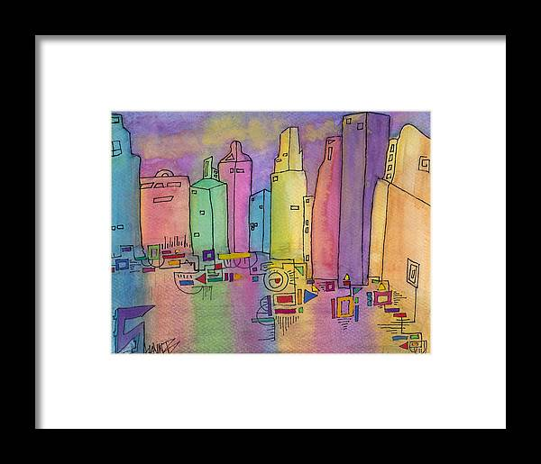 Abstract Framed Print featuring the painting Electric City by Shawn Brandon