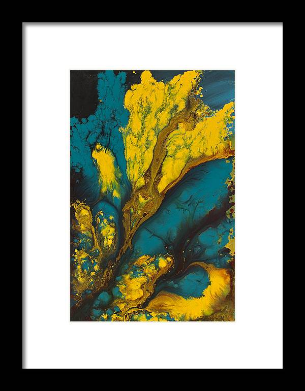 Abstract Canvas Prints Paintings Framed Print featuring the painting Electric Embrace by Nandita Albright