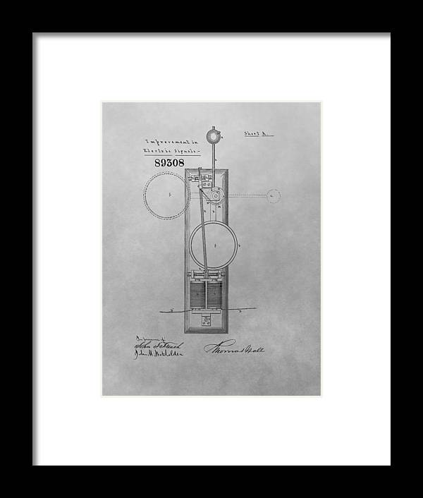 Electric Signal Patent Framed Print featuring the drawing Electric Signal Patent Drawing by Dan Sproul