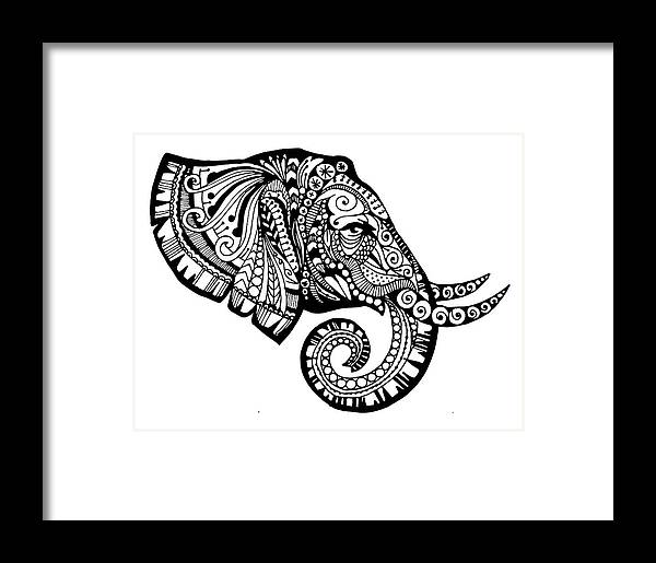 Zendoodle Framed Print featuring the drawing Elegant Elephant by Sadie Maughan