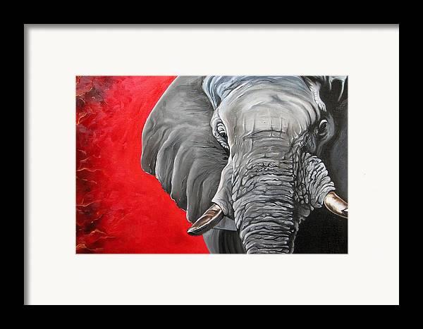 Wildlife Framed Print featuring the painting Elephant by Ilse Kleyn