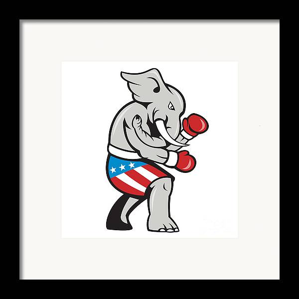 Elephant Framed Print featuring the digital art Elephant Mascot Boxer Boxing Side Cartoon by Aloysius Patrimonio
