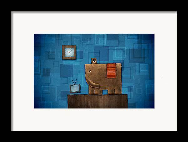 Abstract Framed Print featuring the digital art Elephant On The Wall by Gianfranco Weiss