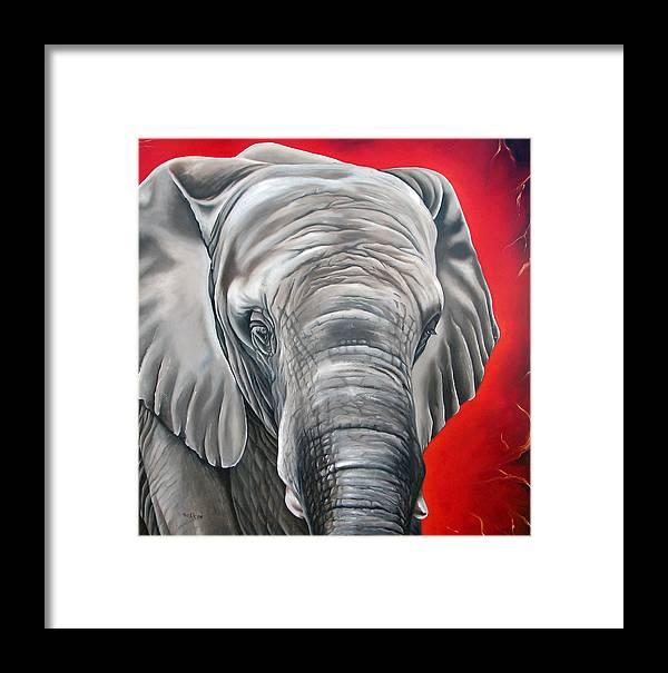 Elephant Framed Print featuring the painting Elephant Six Of Eight by Ilse Kleyn
