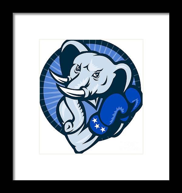 Elephant Framed Print featuring the digital art Elephant With Boxing Gloves Democrat Mascot by Aloysius Patrimonio