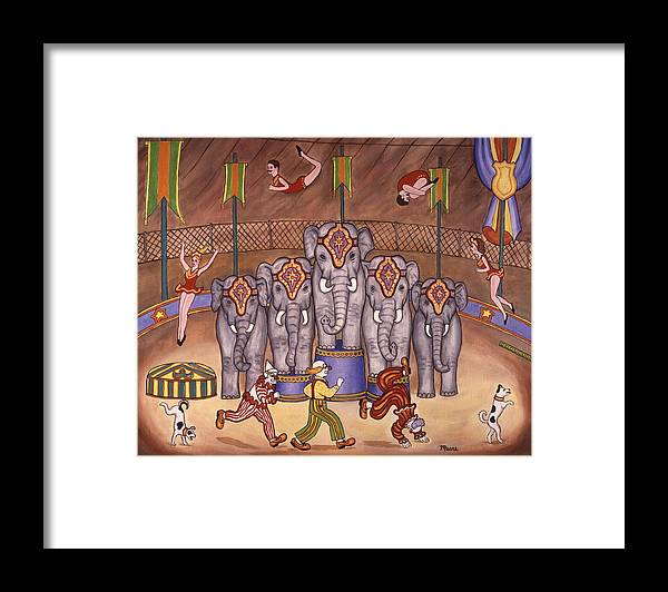 Circus Framed Print featuring the painting Elephants And Acrobats by Linda Mears