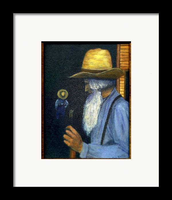 Men Framed Print featuring the painting Eli Remembers by Gail Kirtz