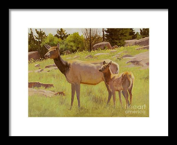Elk Framed Print featuring the painting Elk And Calf by Sue Messerly