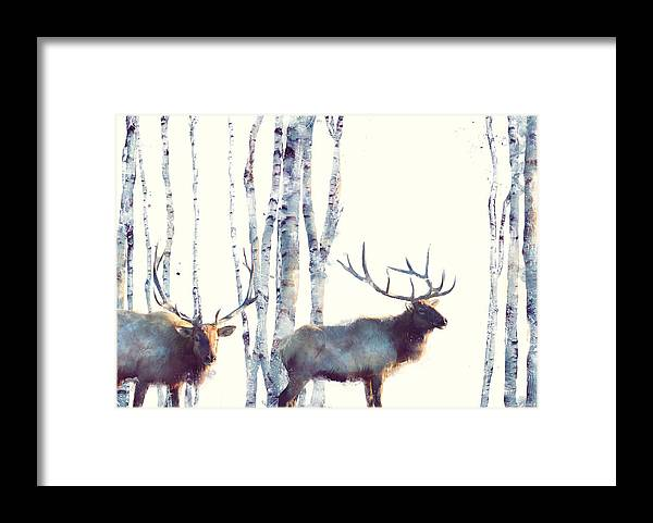 Elk Framed Print featuring the painting Elk // Follow by Amy Hamilton