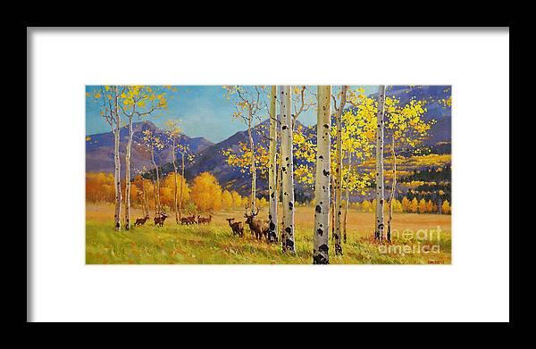 Elk Herd Framed Print featuring the painting Elk Herd In Aspen Grove by Gary Kim