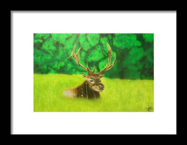 Elk Framed Print featuring the painting Elk In The Distance by Michael Hall