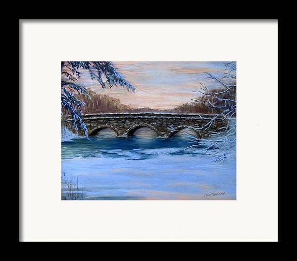 Concord. Winter Framed Print featuring the painting Elm Street Bridge On A Winter's Morn by Jack Skinner