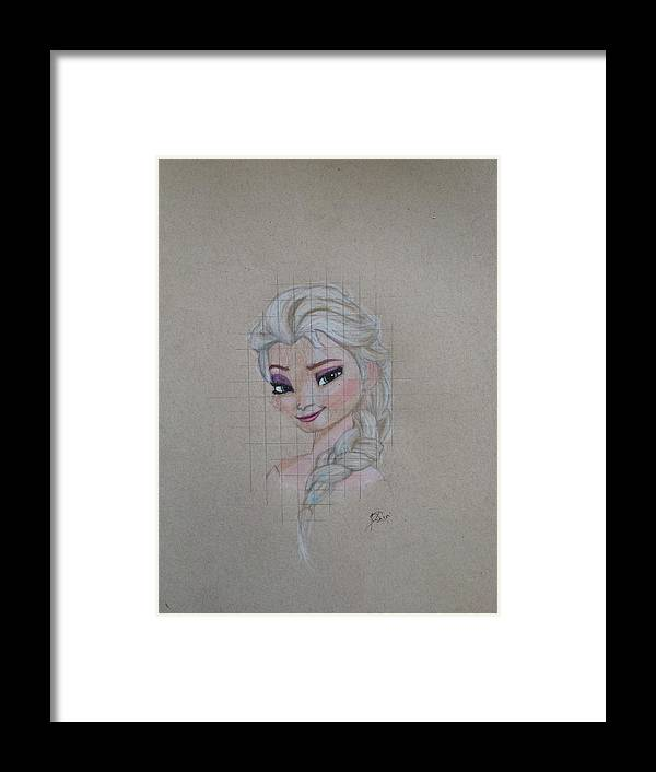 Elsa Framed Print featuring the drawing Elsa by Caleb Tony