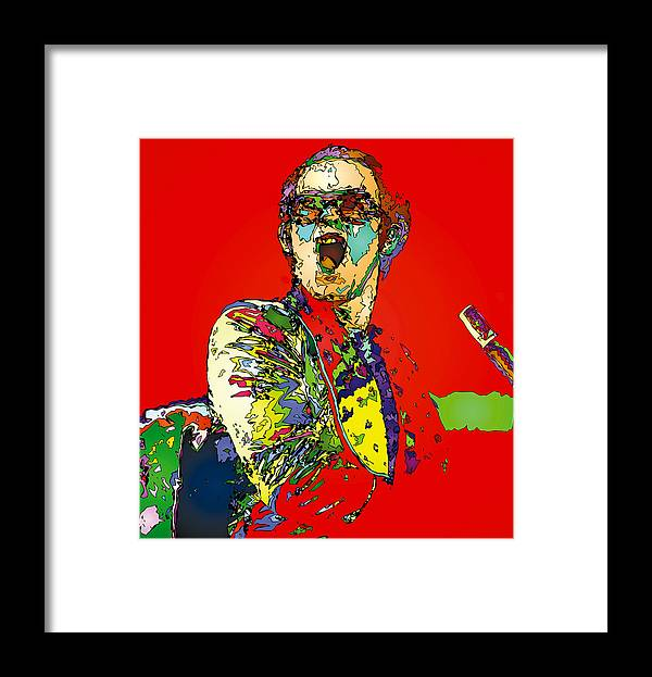 Elton John Framed Print featuring the painting Elton in Red by John Farr