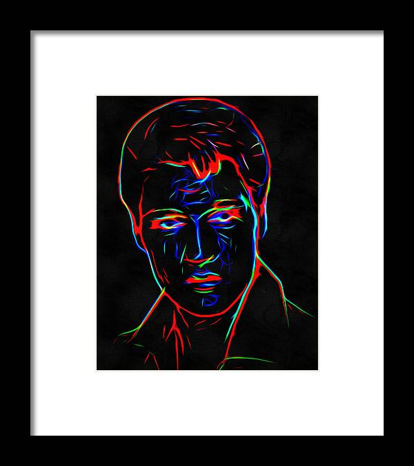 Elvis Presley Framed Print featuring the digital art Elvis At Neon by Yury Malkov