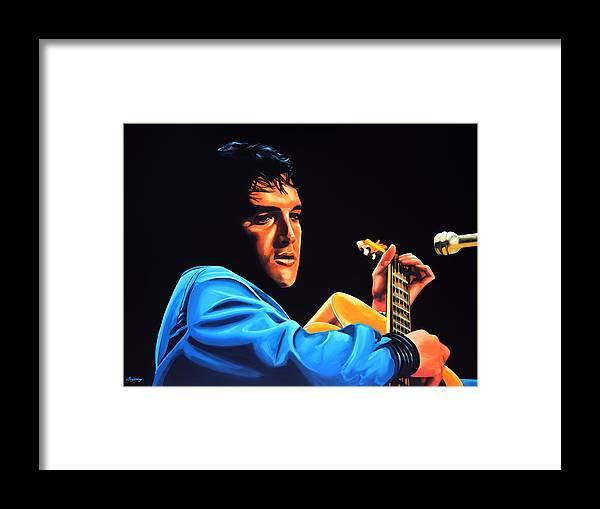 Elvis Framed Print featuring the painting Elvis Presley 2 Painting by Paul Meijering