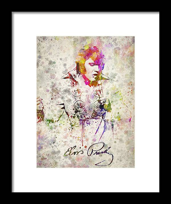 Elvis Presley Framed Print featuring the drawing Elvis Presley by Aged Pixel