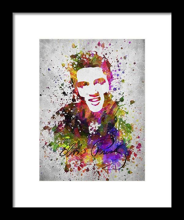 Elvis Presley Framed Print featuring the digital art Elvis Presley in Color by Aged Pixel