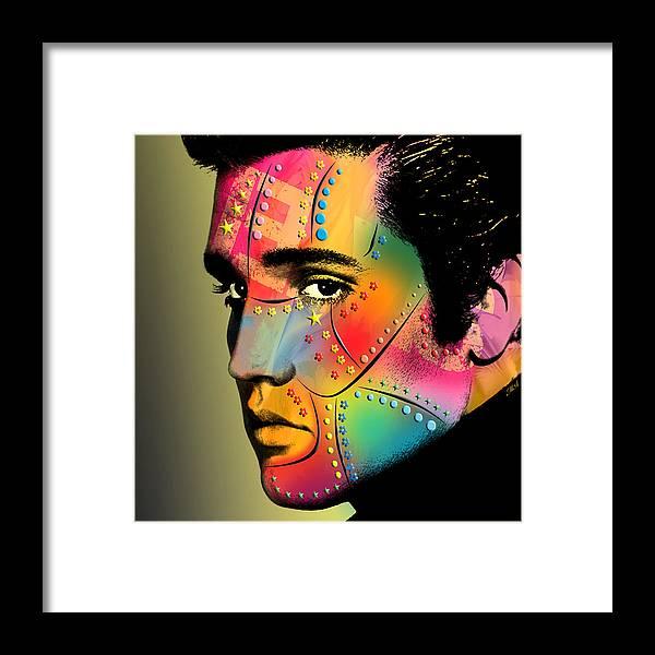 Elvis Presley Framed Print featuring the digital art Elvis Presley by Mark Ashkenazi