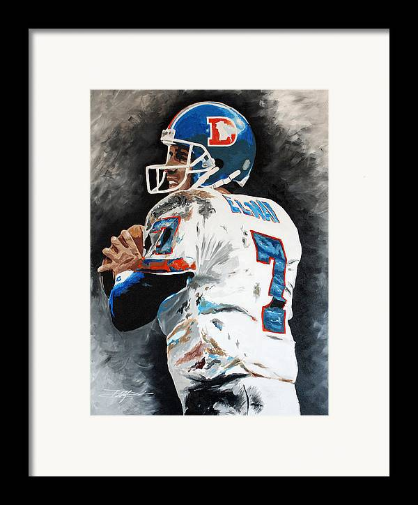 Elway Framed Print featuring the drawing Elway by Don Medina