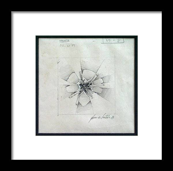 Test Framed Print featuring the drawing Embers A 1969 by Glenn Bautista