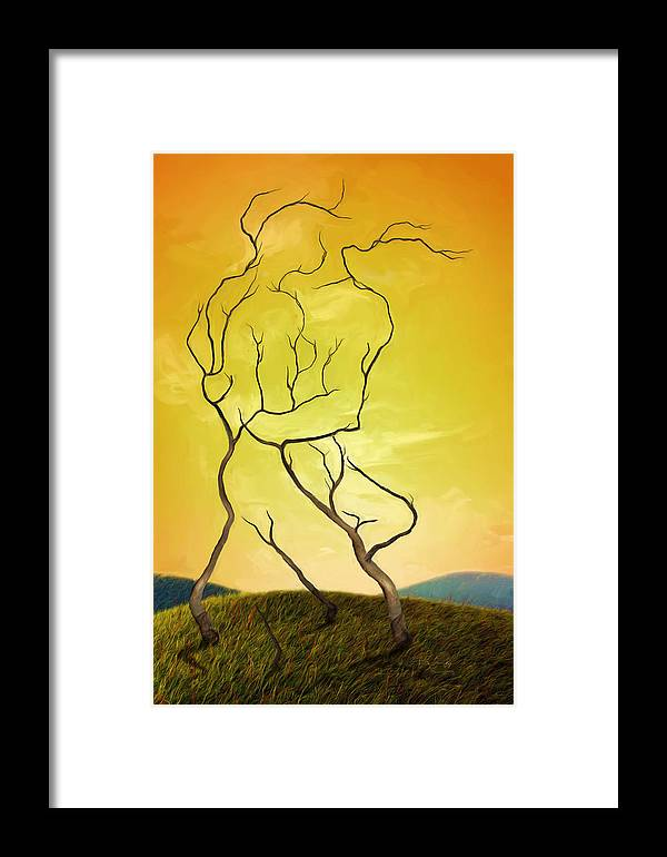 Embrace Framed Print featuring the painting Embrace by Shawn Abel