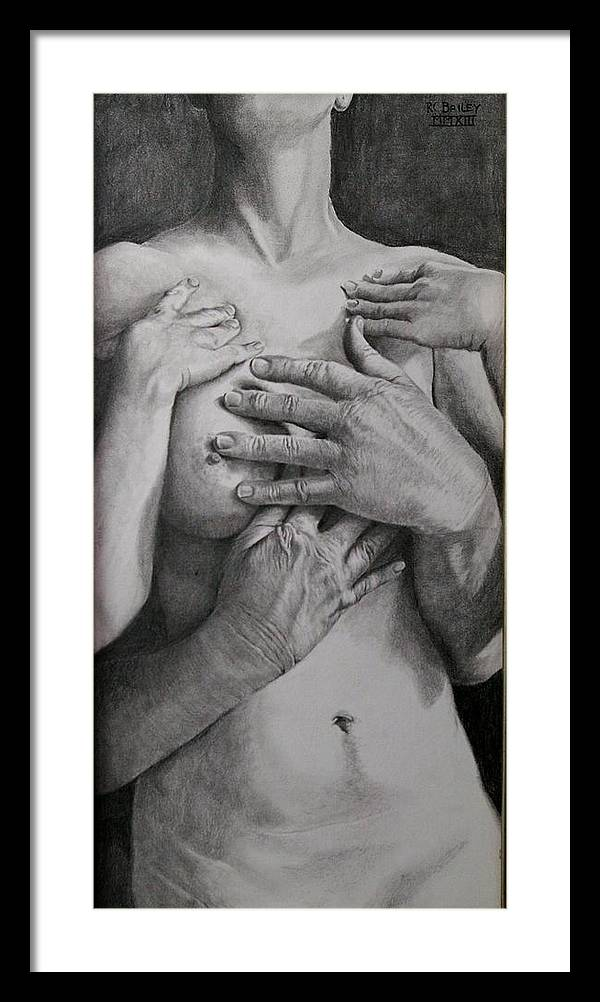 A Study In Contrasting Textures. Framed Print featuring the painting Embrace Two by RC Bailey