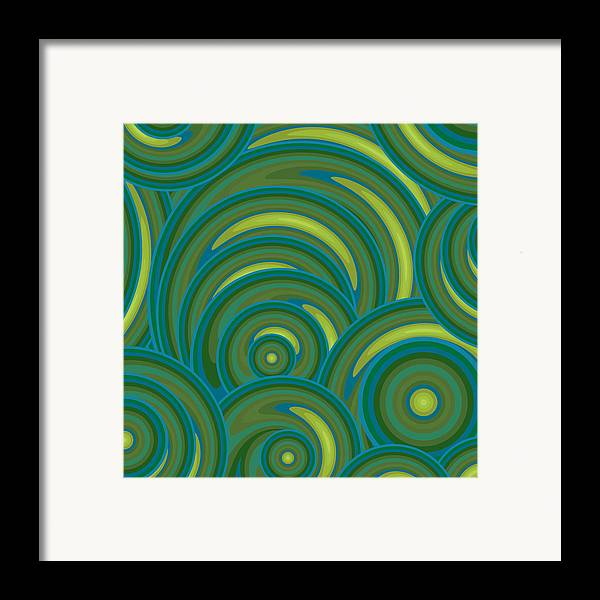 Emerald Green Abstract Framed Print featuring the painting Emerald Green Abstract by Frank Tschakert
