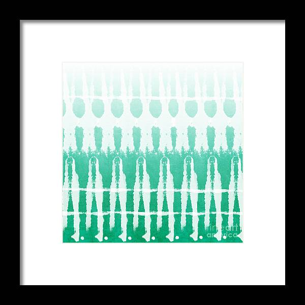 Abstract Framed Print featuring the painting Emerald Ombre by Linda Woods