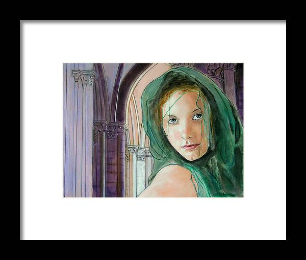 Portrait Framed Print featuring the painting Emerald Princess by Jean-Paul Setlak